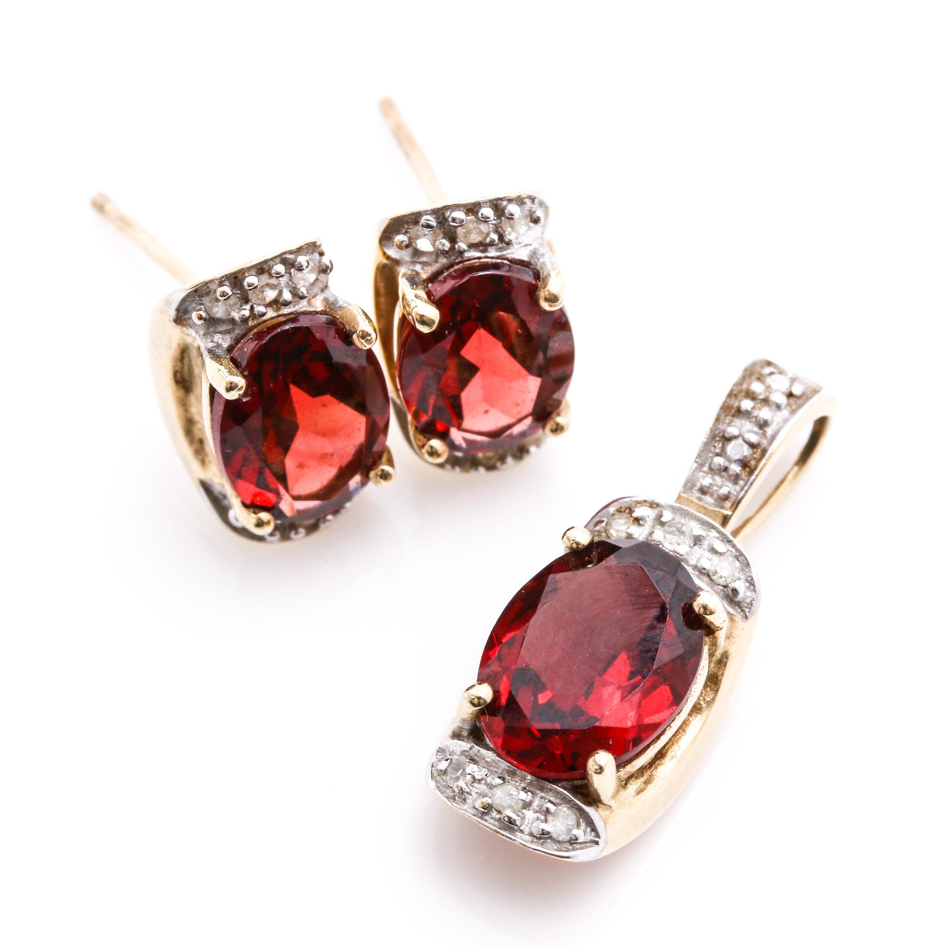 10K Yellow Gold Garnet Diamond Earrings and Pendant