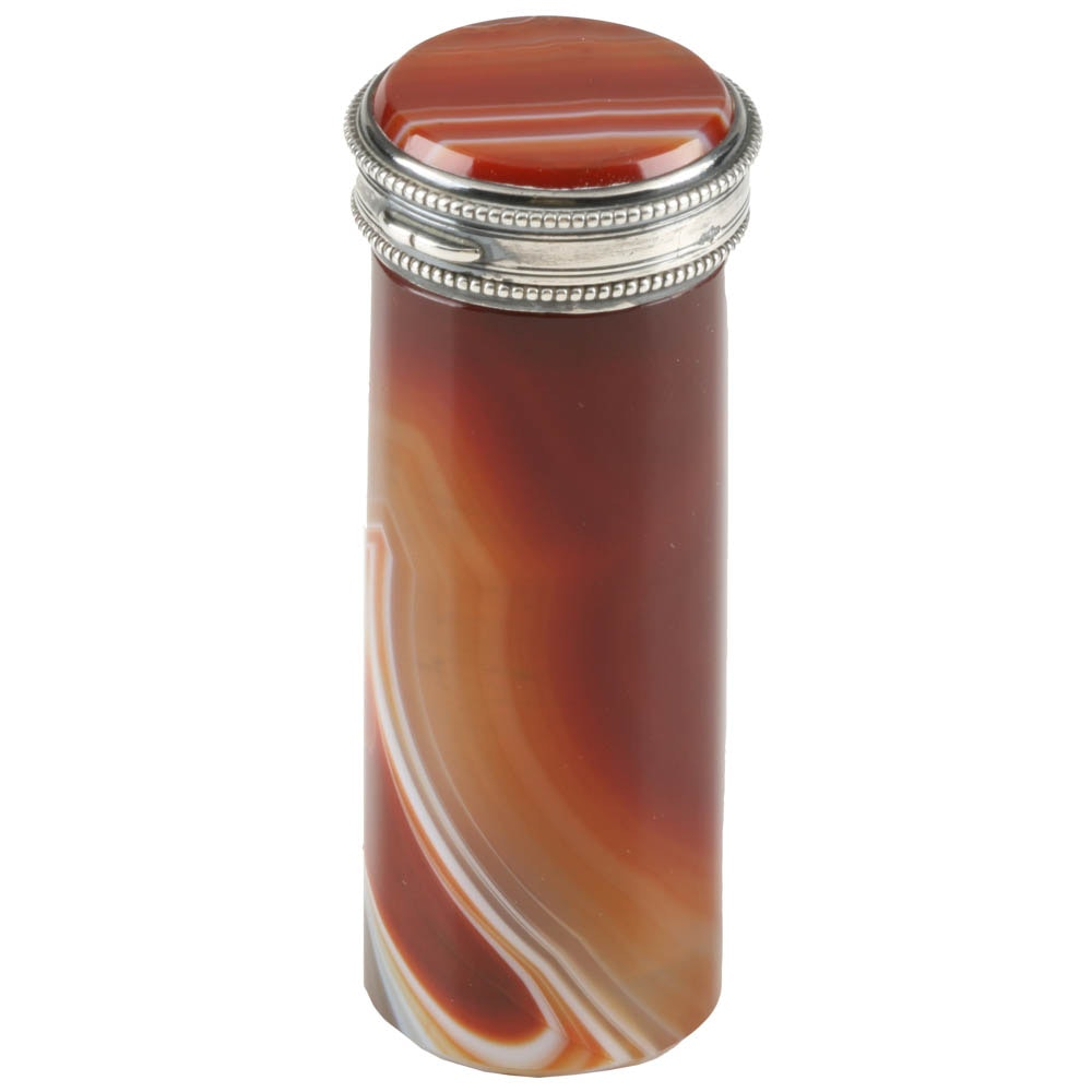 19th Century Victorian Agate Carnelian Needle Case