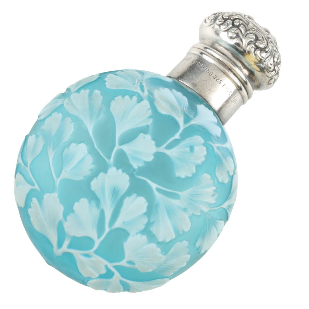 Thomas Webb Blue Cameo Perfume Flask with Sterling Cap