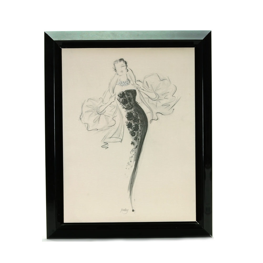 "Jane Hartley Fashion Offset Lithograph on Canvas ""Tiffany"""