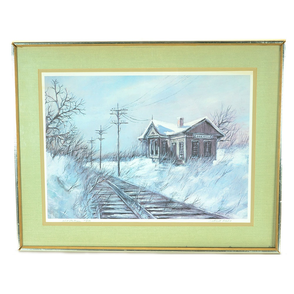 """Robert Fabe Signed Limited Edition Offset Lithograph """"Old Station"""""""