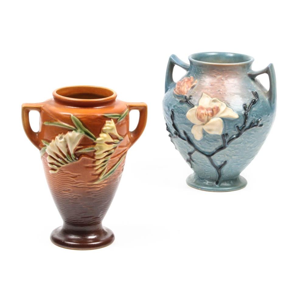 "Roseville ""Freesia"" and ""Magnolia"" Vases"