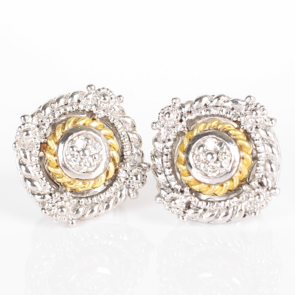 Judith Ripka Sterling Silver and 18K Yellow Gold Diamond Earrings