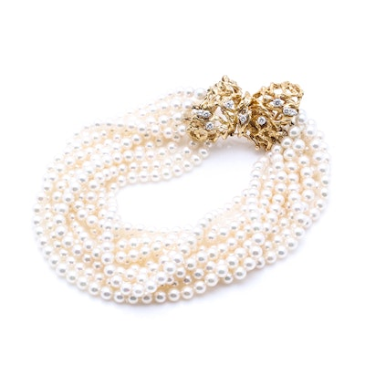 14K Yellow Gold Ten-Strand Cultured Pearl Bracelet with Diamonds