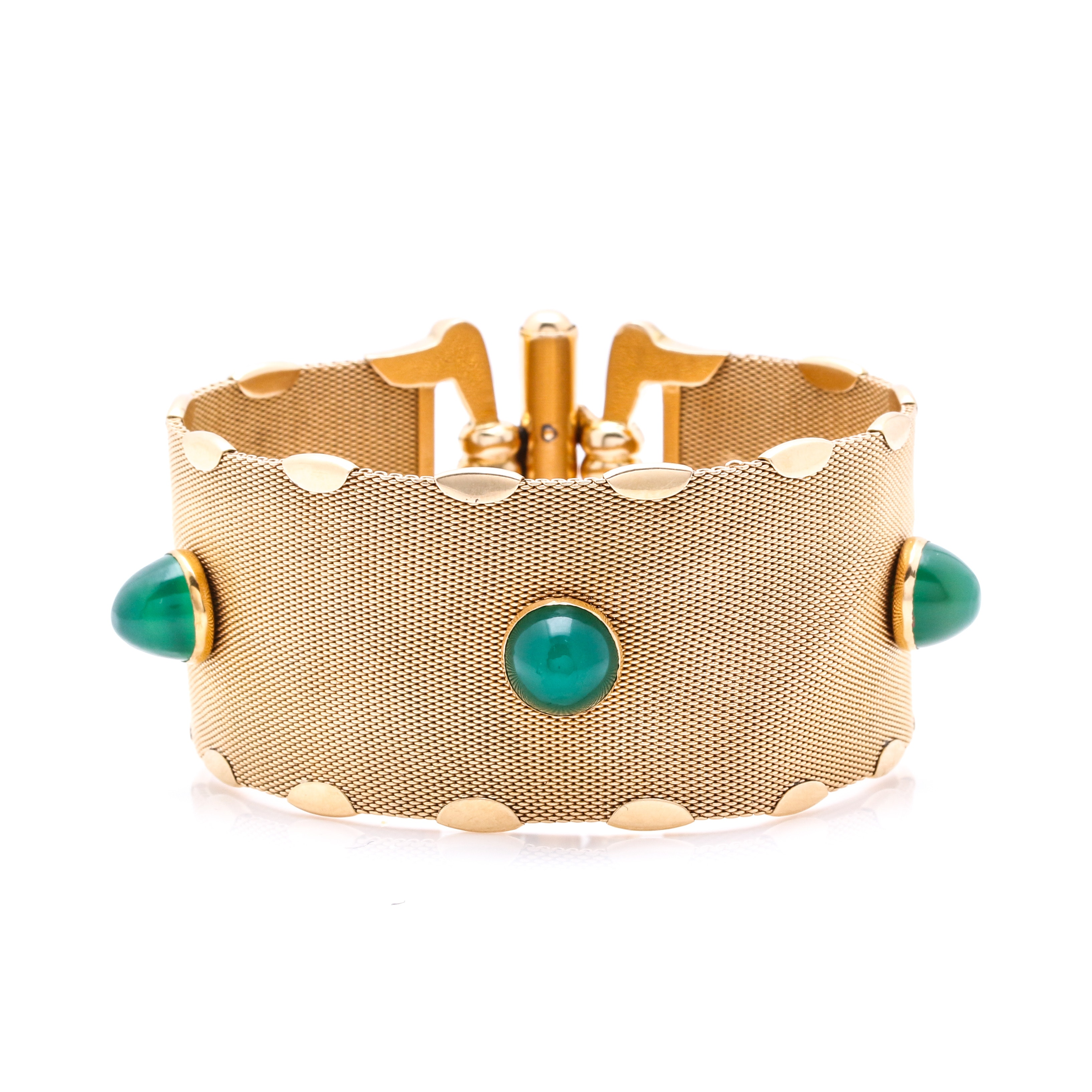 18K Yellow Gold Mesh Bracelet with Dyed Green Chalcedony Stones