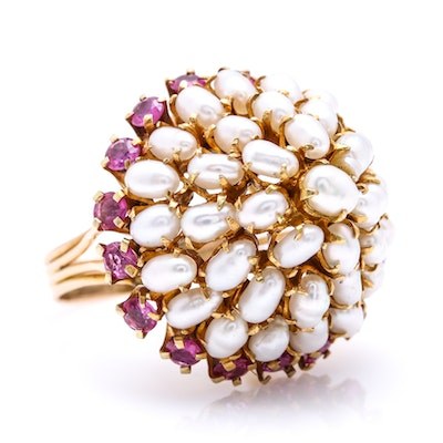14K Yellow Gold Cultured Pearl and 1.40 CTW Ruby Dome Ring