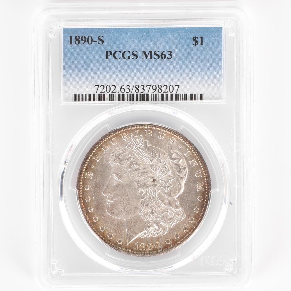 PCGS Graded 1890 S Morgan Silver Dollar