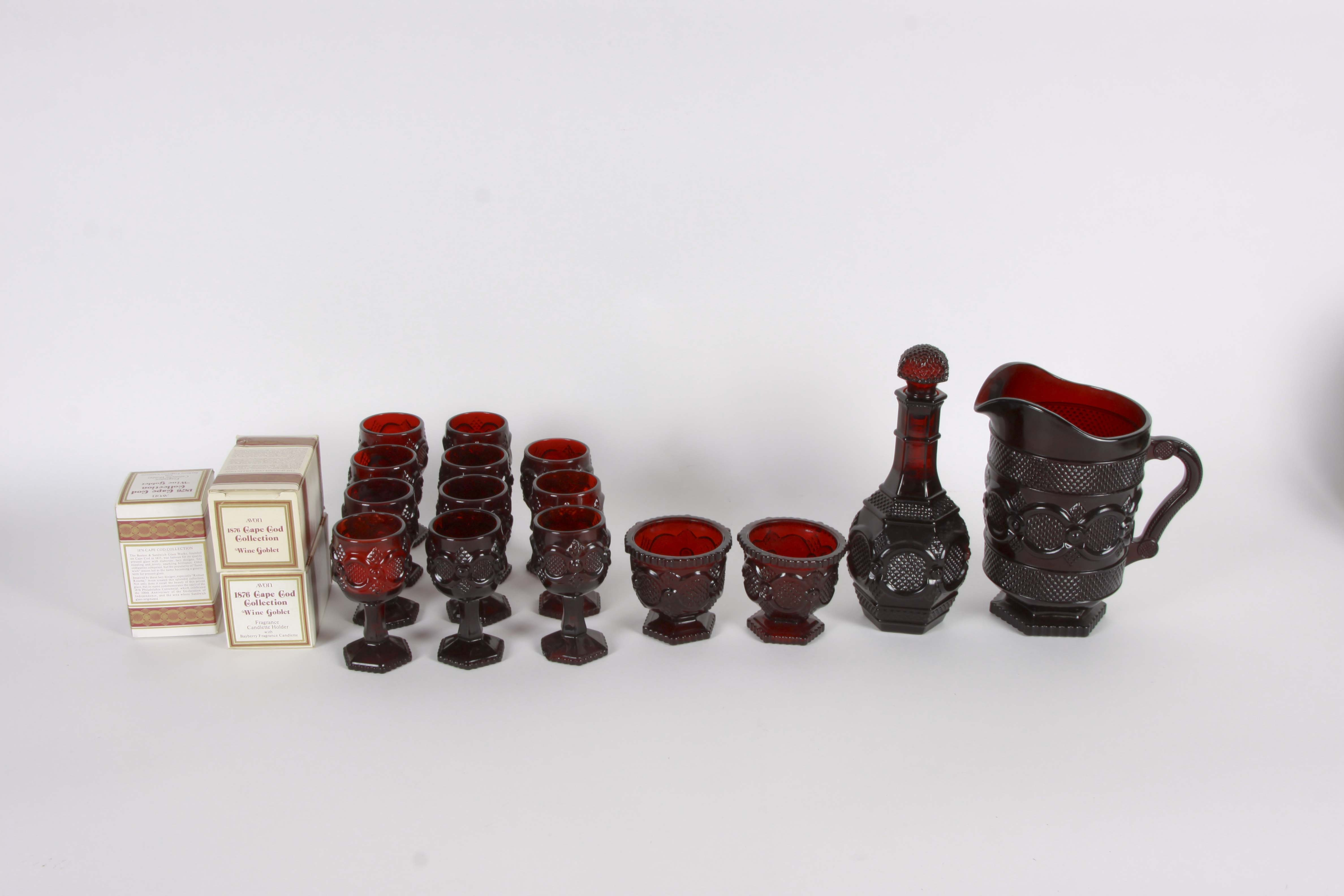 """Avon """"1876 Cape Cod"""" Ruby Red Glass Collection"""