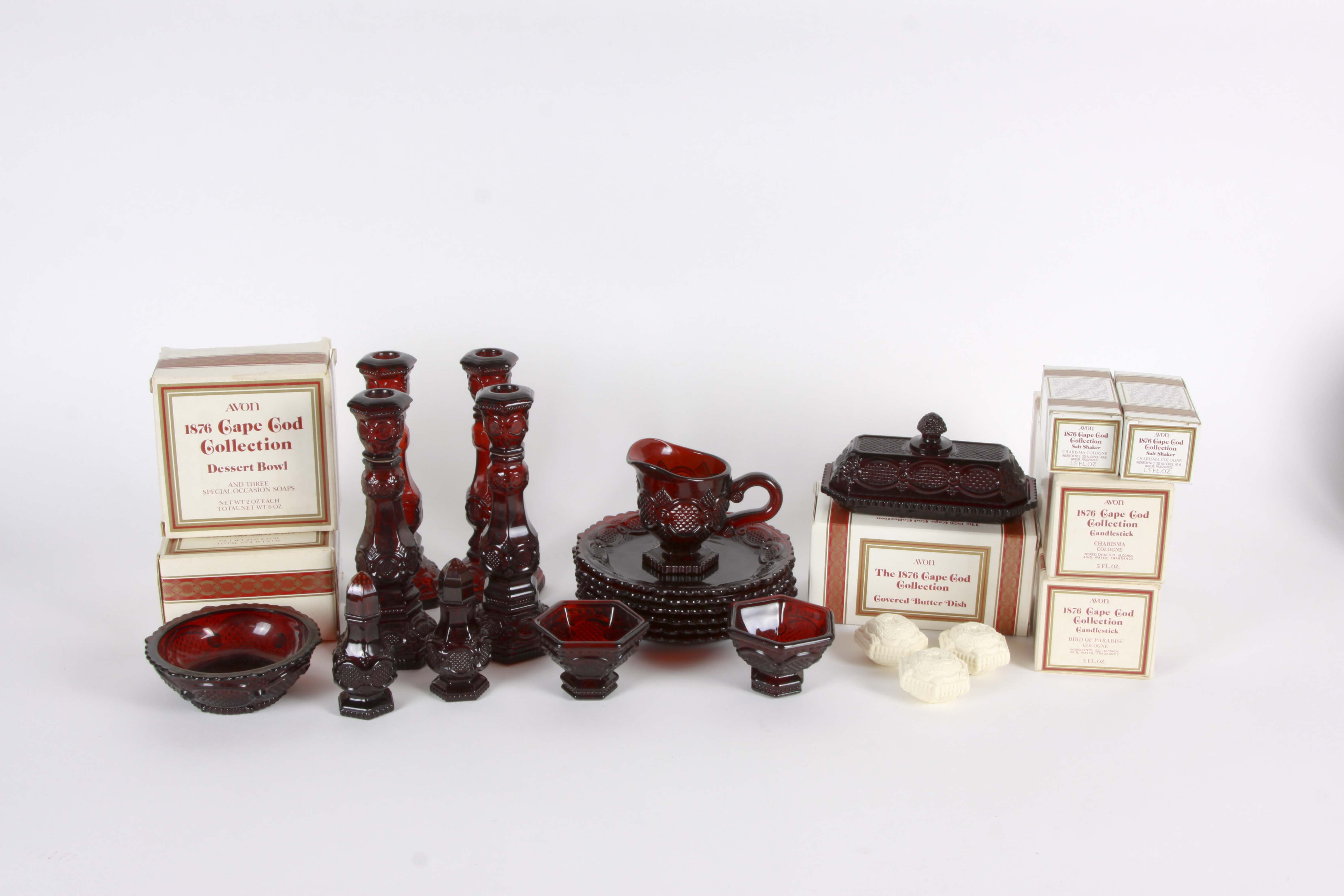 "Avon ""1876 Cape Cod"" Ruby Red Glass Collection"