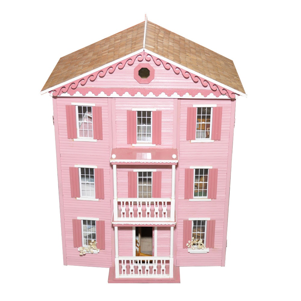 Handmade Three Story Pink Wooden Dollhouse With Miniature Furniture