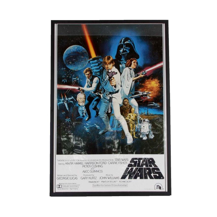 framed star wars movie poster 1977 ebth
