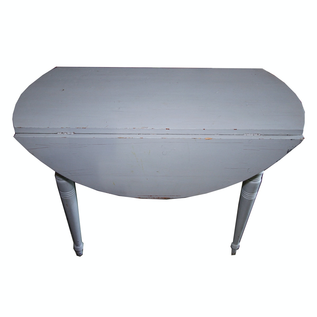 Gray-Painted Drop-Leaf Dining Table
