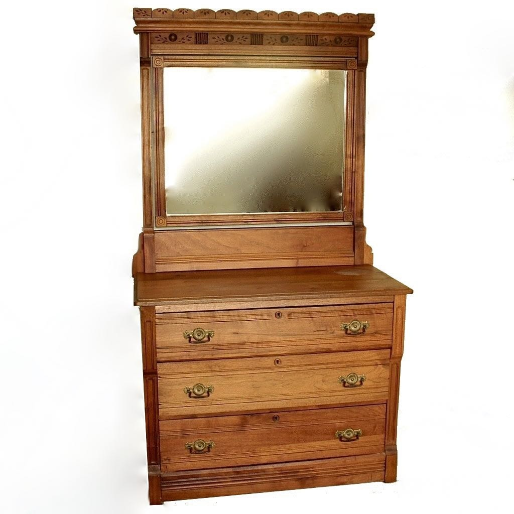 Eastlake Style Pine Dresser Chest with Attached Mirror