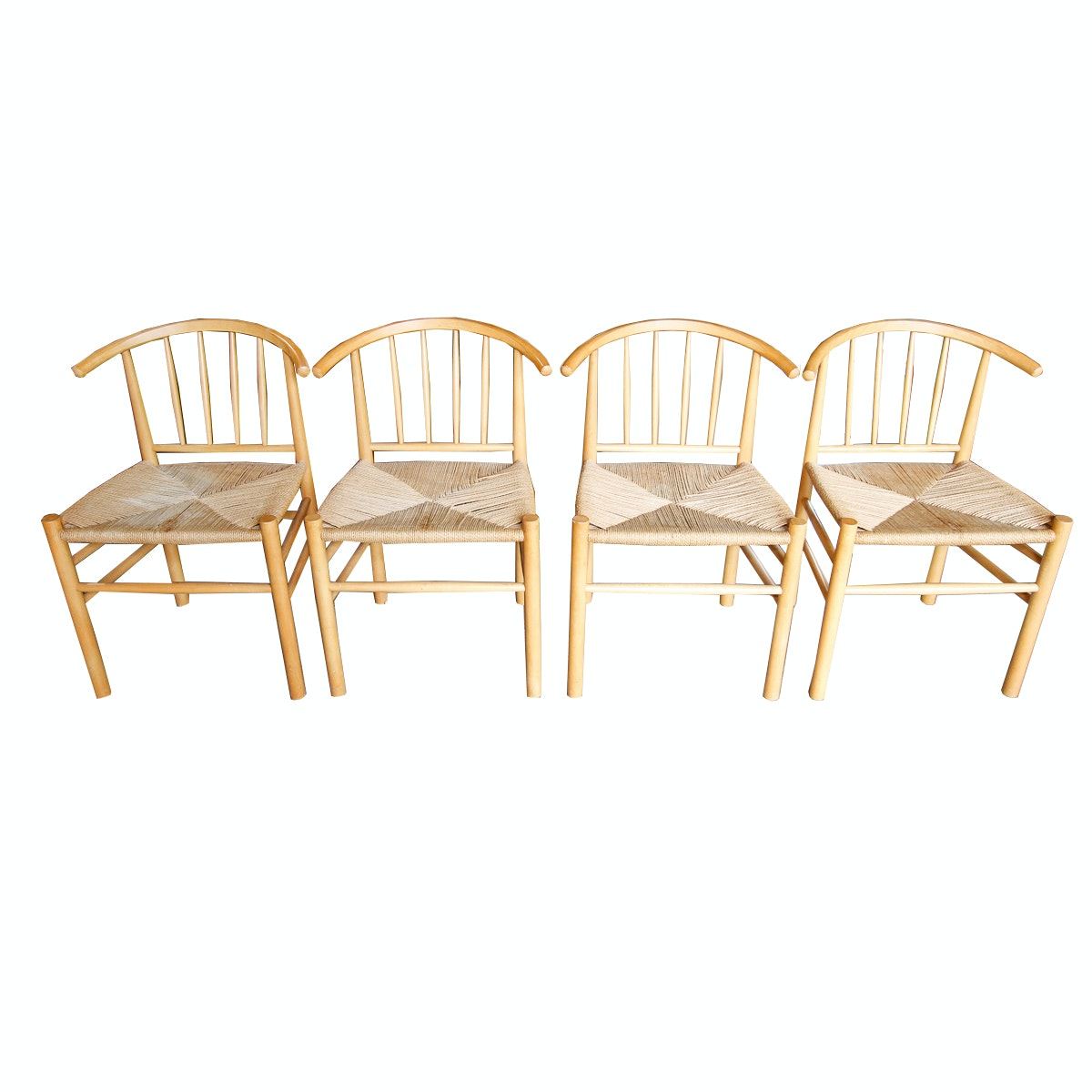Set of Woven Seat Dining Chairs