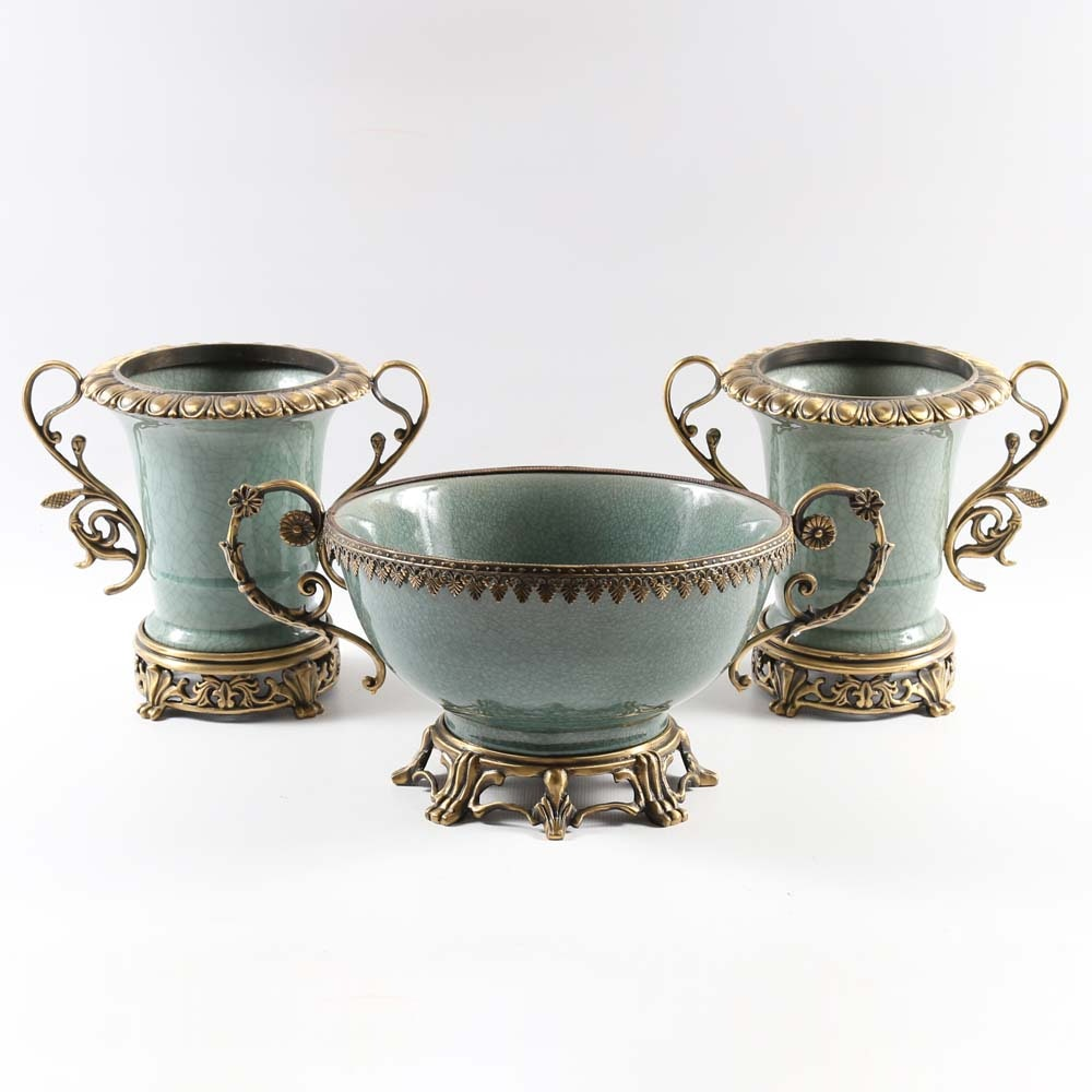 Neoclassical Centerpiece Bowl and Vases