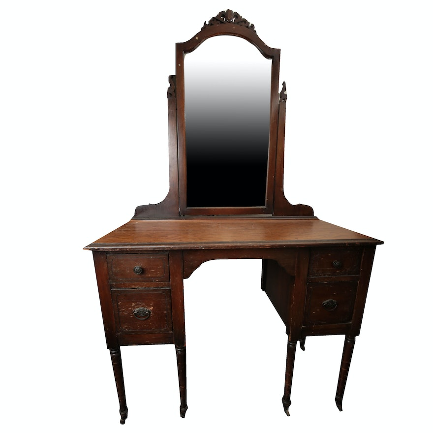 Vintage Vanity Desk and Mirror by Helmers ... - Vintage Vanity Desk And Mirror By Helmers : EBTH
