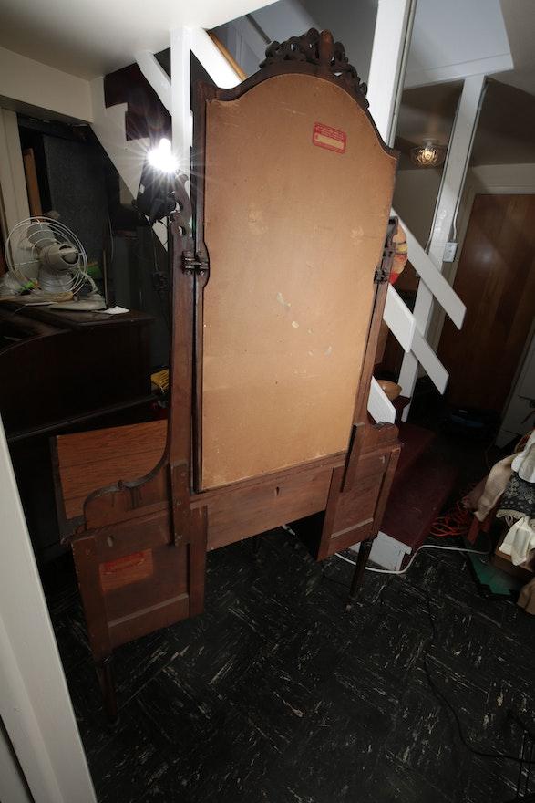 Vintage Vanity Desk And Mirror By Helmers Ebth