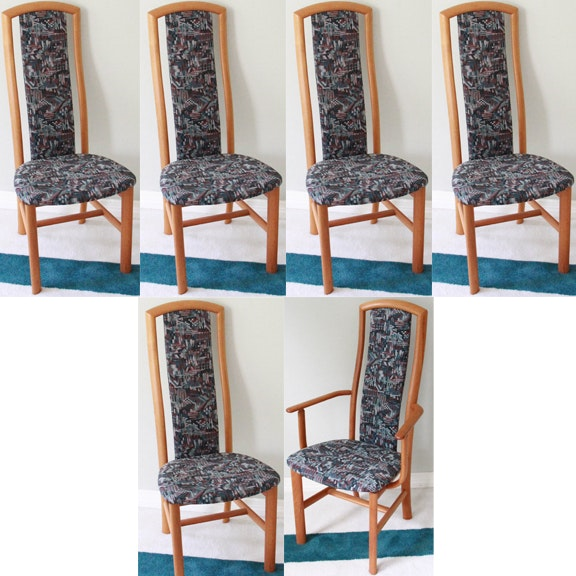 1980s Deco Revival Upholstered Dining Chairs