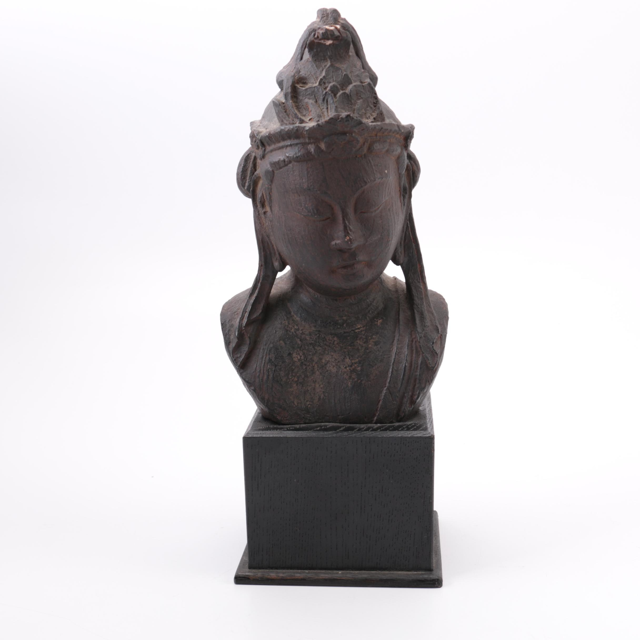 Indian Inspired Wooden Budai Head Sculpture