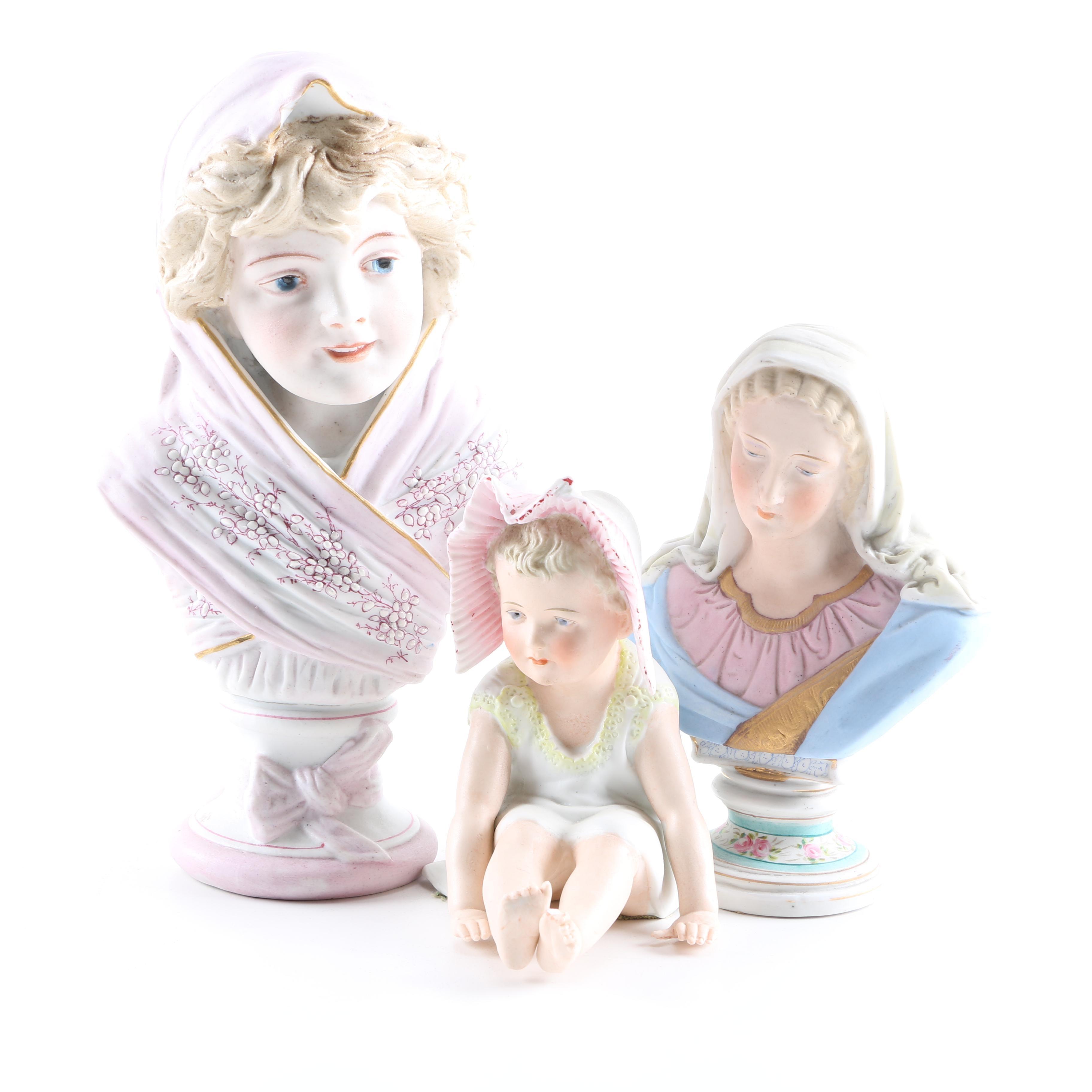 Antique Porcelain Busts and Figure