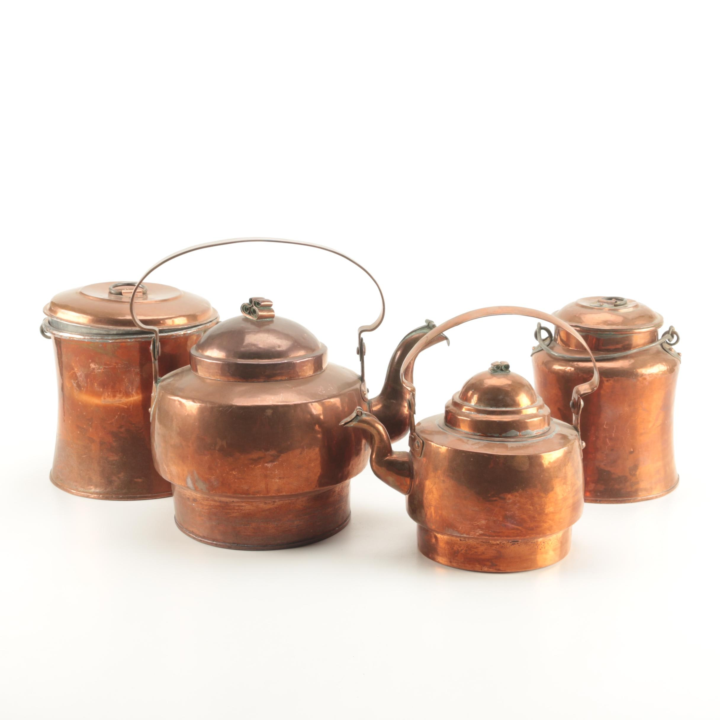 Collection of Copper Kettles and Kitchenware