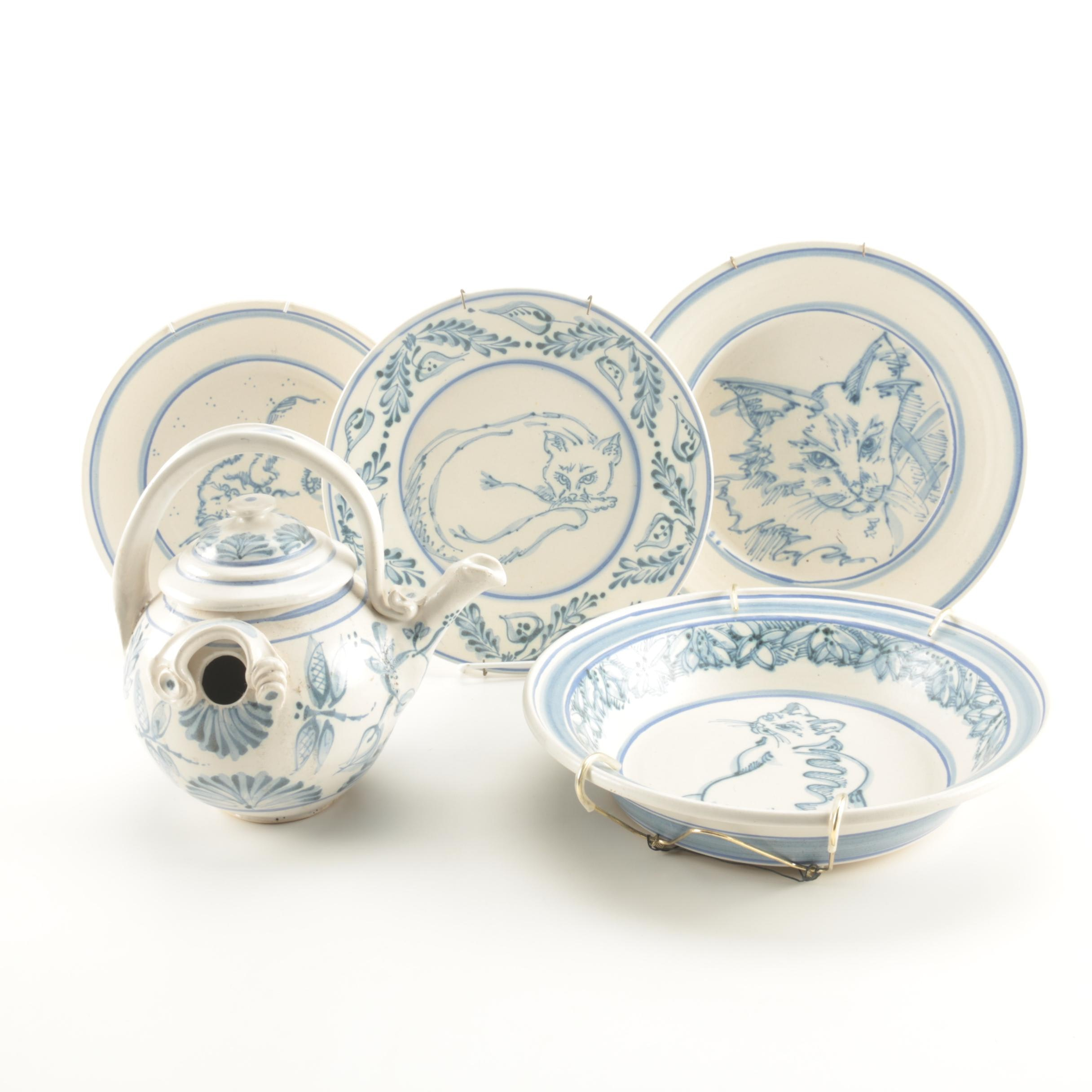 Blue and White Cat Themed Decorative Pottery by Davis