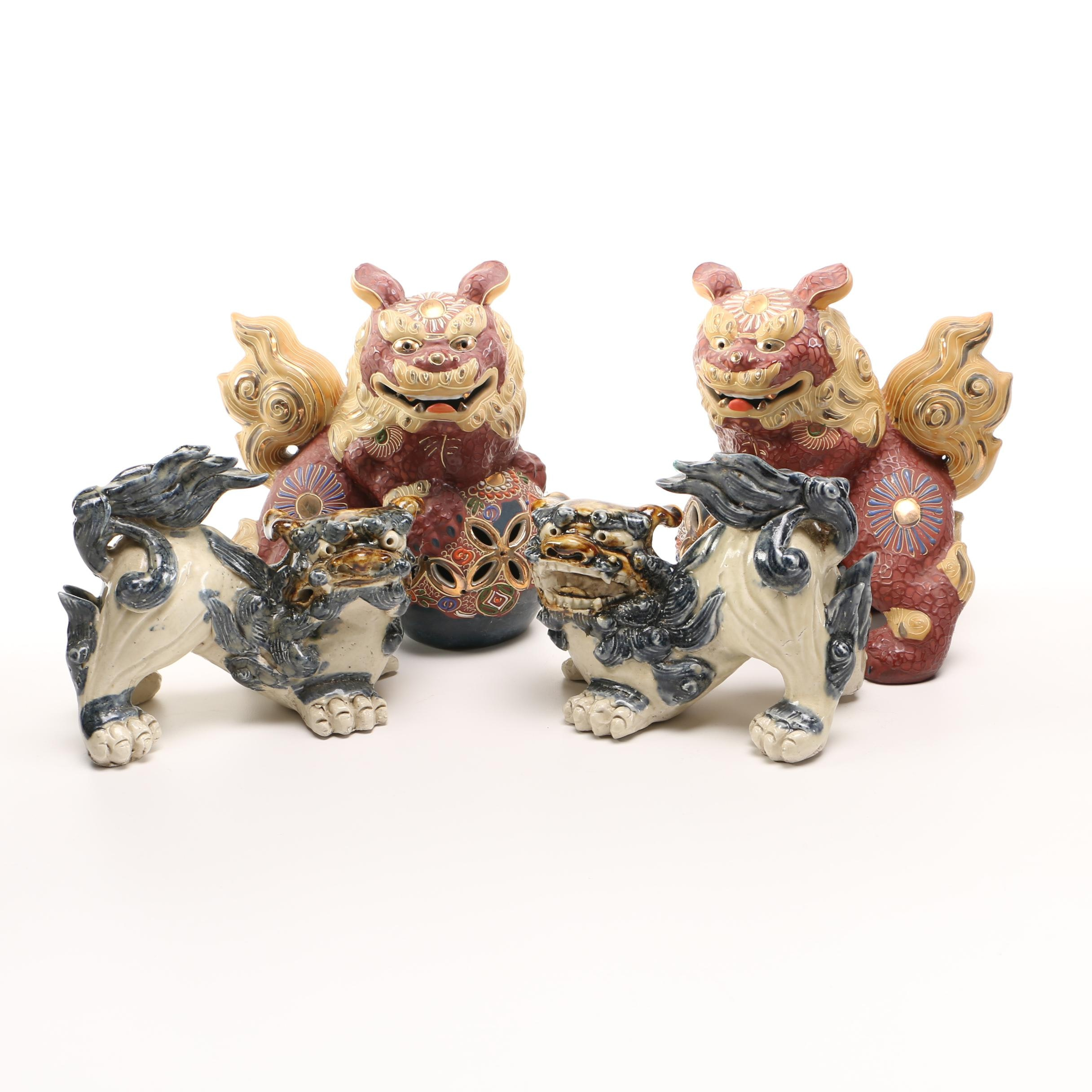 East Asian Inspired Ceramic Guardian Lion Figurines