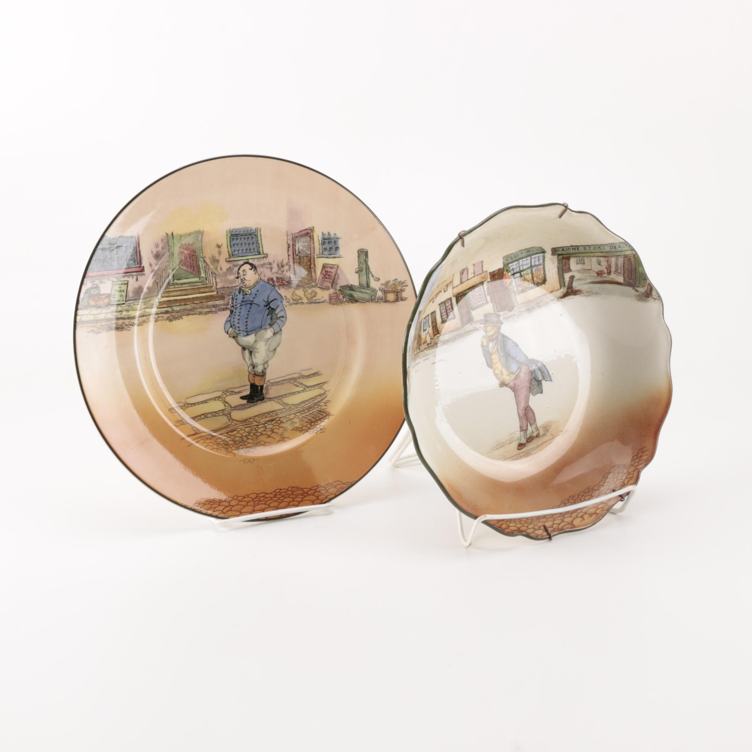"""Royal Doulton """"Dickens"""" Decorative Plate and Bowl"""