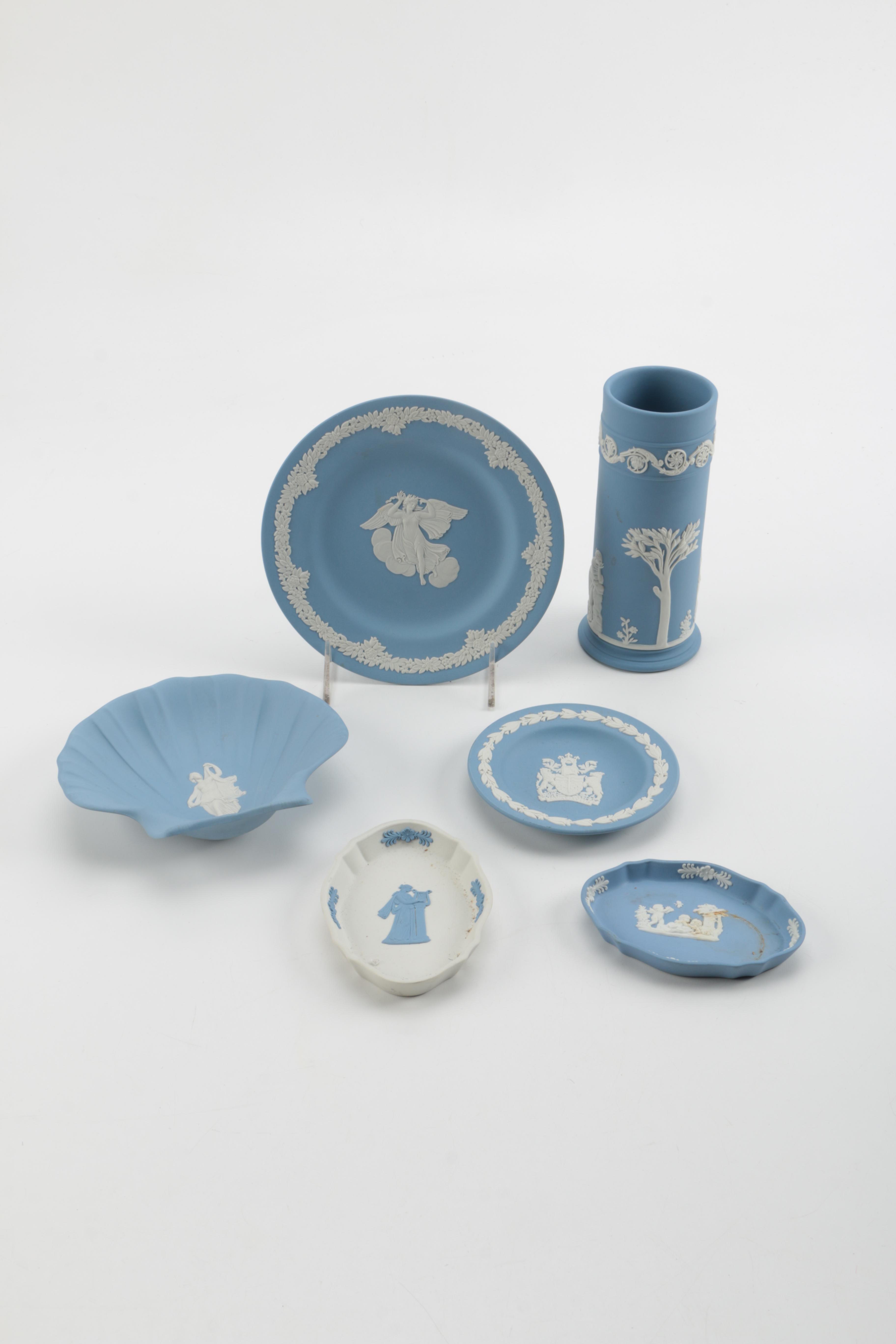 Wedgwood Blue Jasper Spill Vase and Others