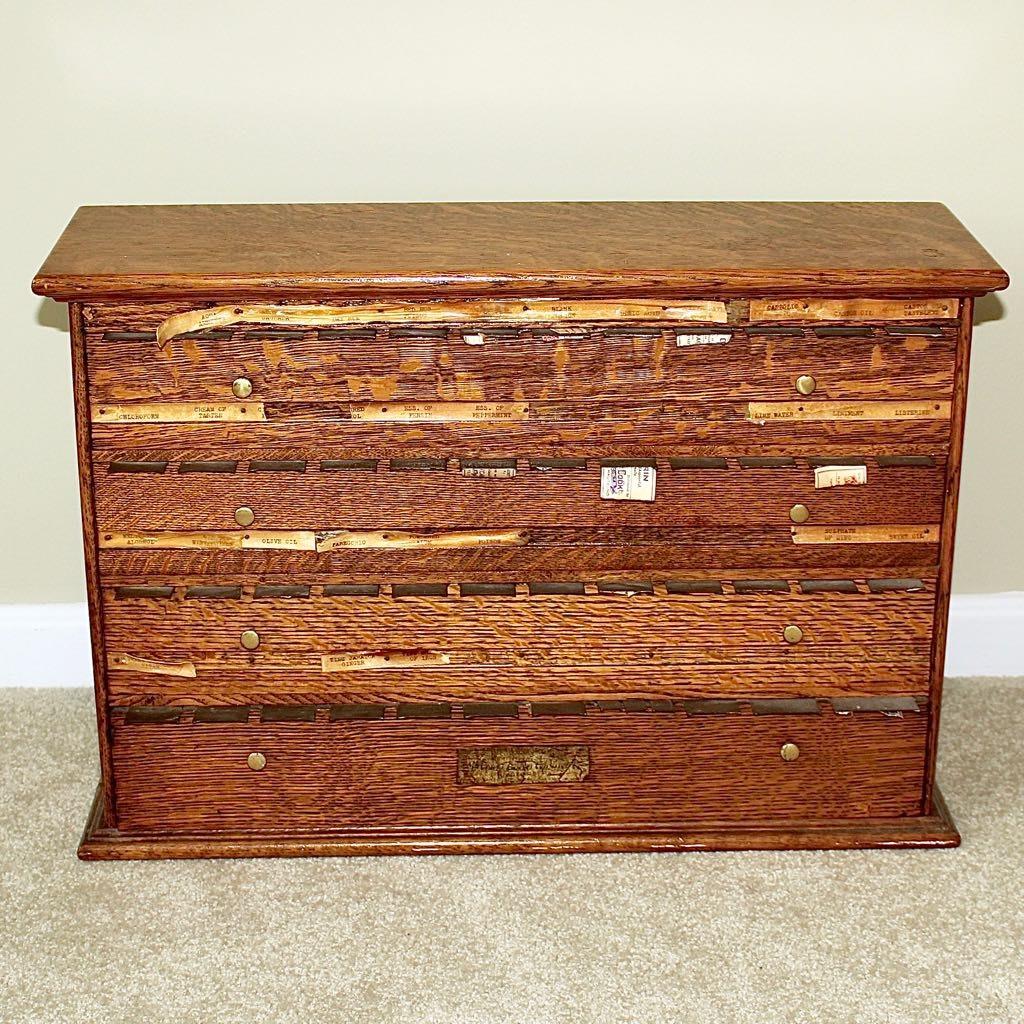 Antique Oak McCourt Pharmacy Label Cabinet