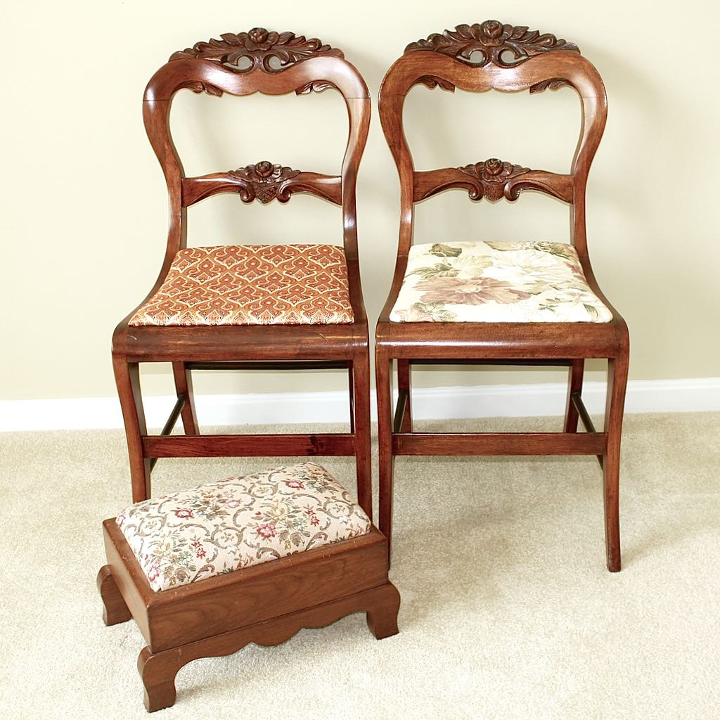 Two Vintage Roseback Carved Wood Accent Chairs + Ottoman