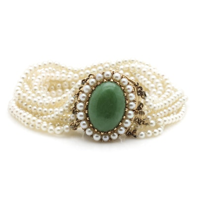 14K Yellow Gold Jadeite and Multi-Strand Cultured Pearl Bracelet