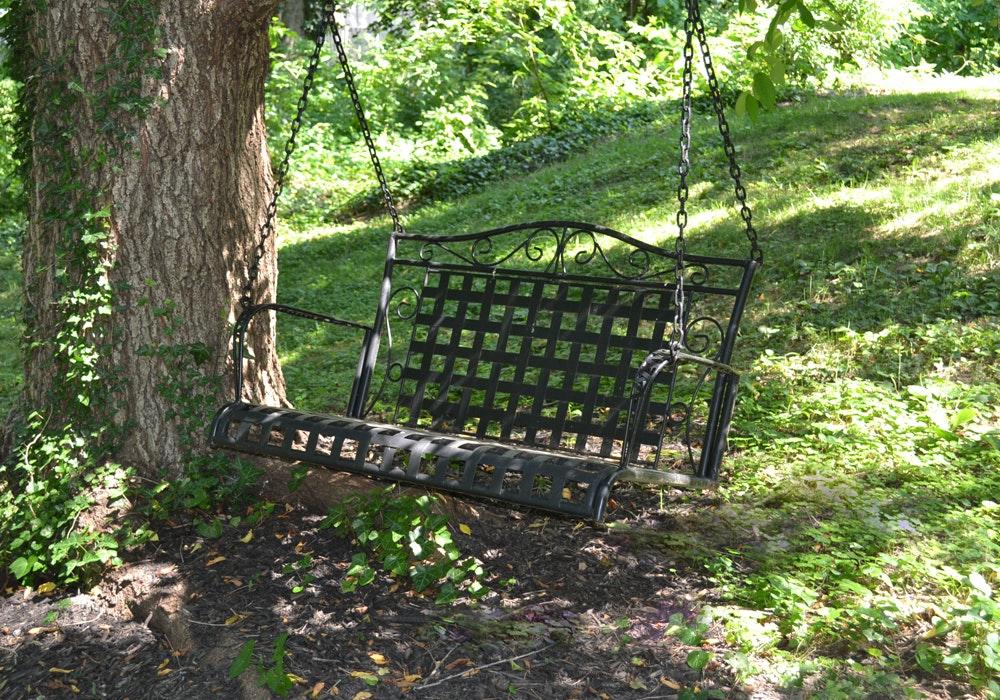 Black Metal Swing Bench