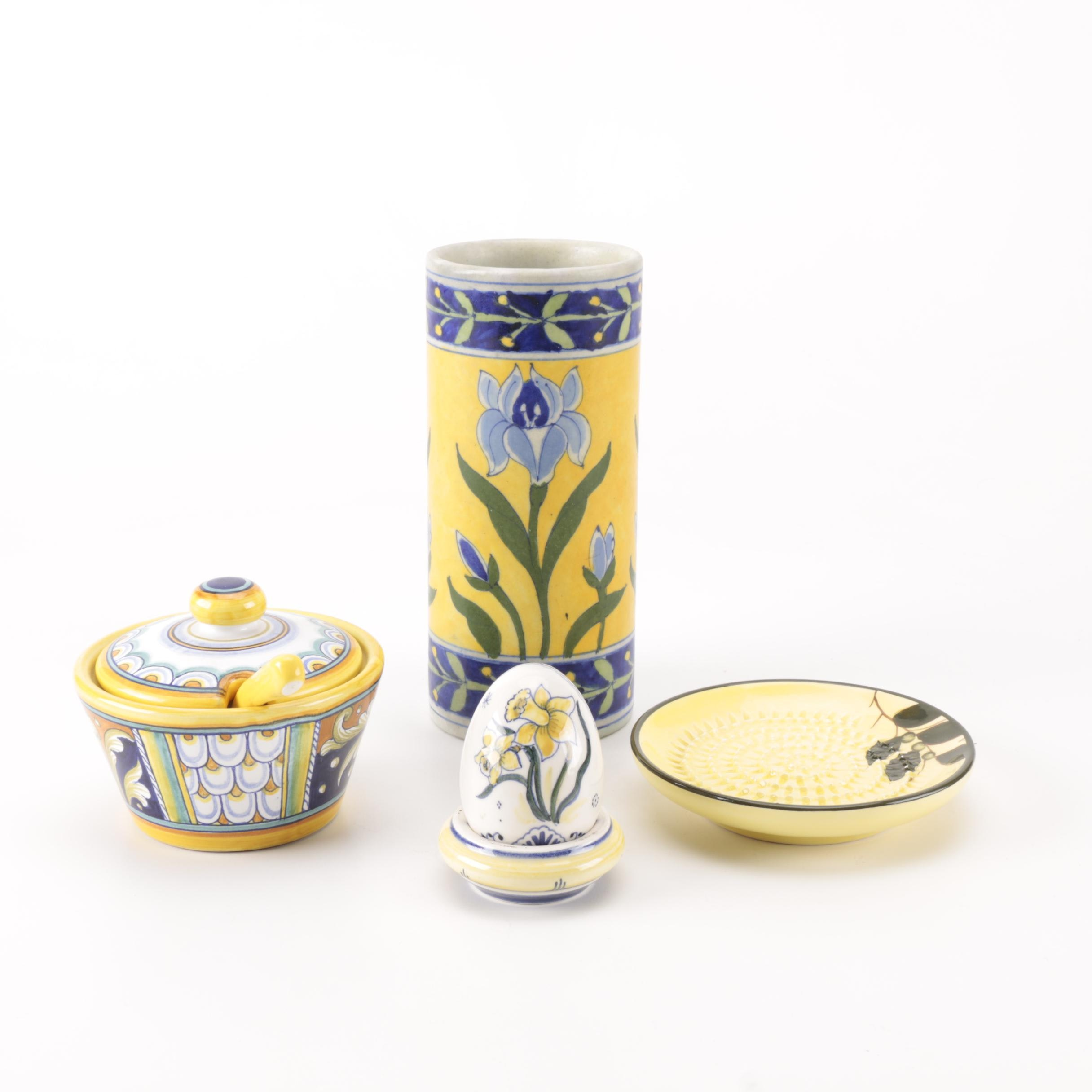 Hand-Painted Yellow and Blue Ceramics Including Delft