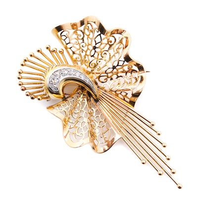 Depose 18K Yellow Gold Diamond Brooch