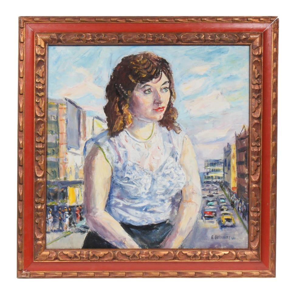 1966 Emerson Burkhart Oil Portrait on Canvas