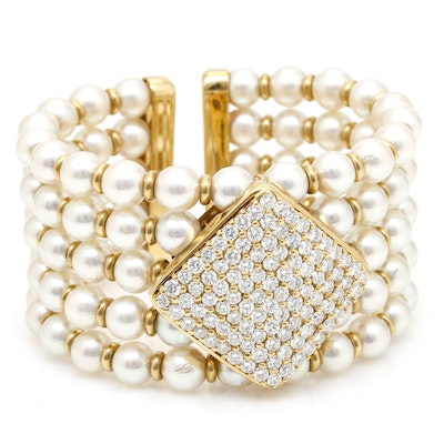18K Yellow Gold 5.15 CTW Diamond and Cultured Pearl Cuff