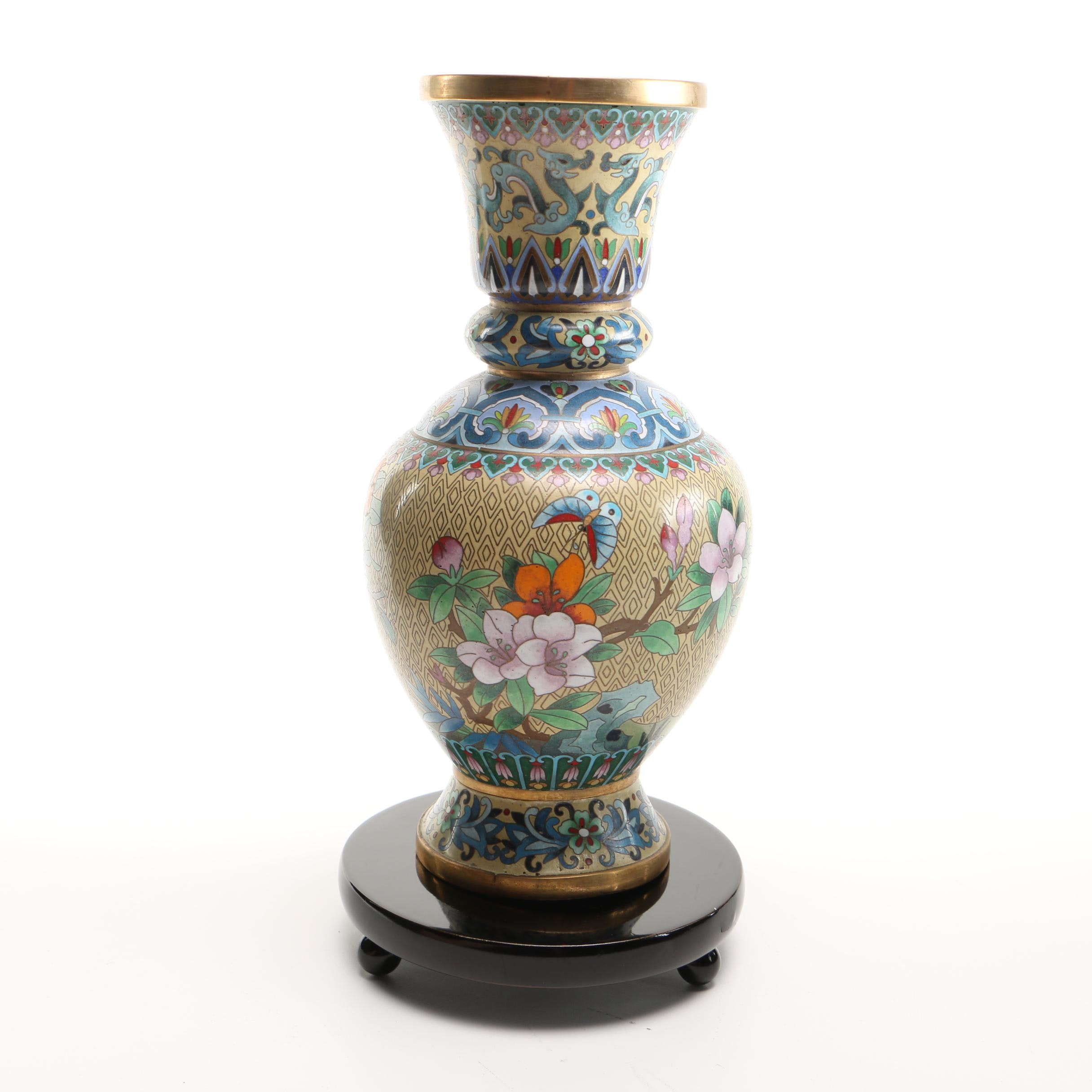 Enameled Brass Vase and Wooden Stand