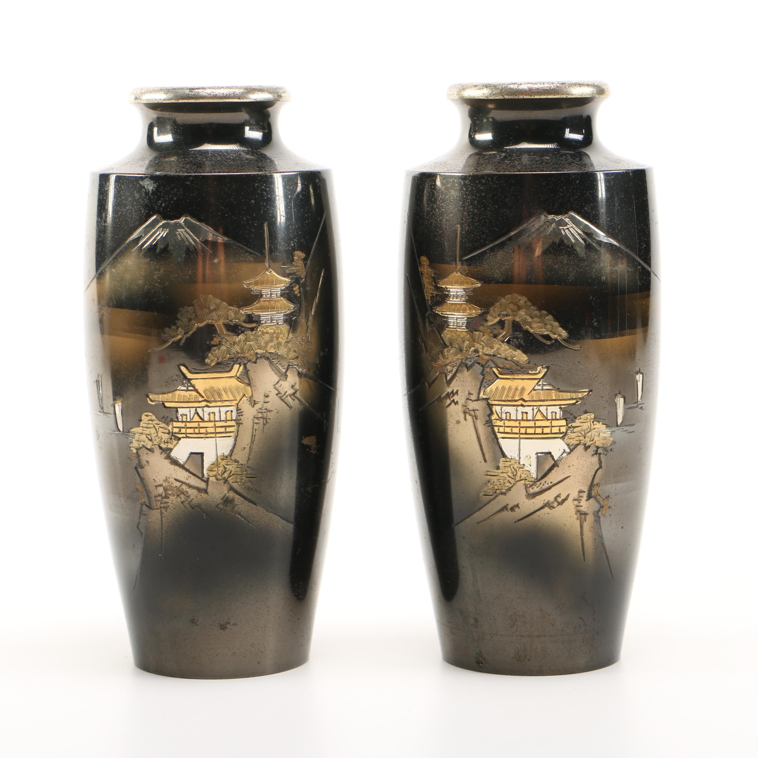 Japanese Themed Etched Metal Vases