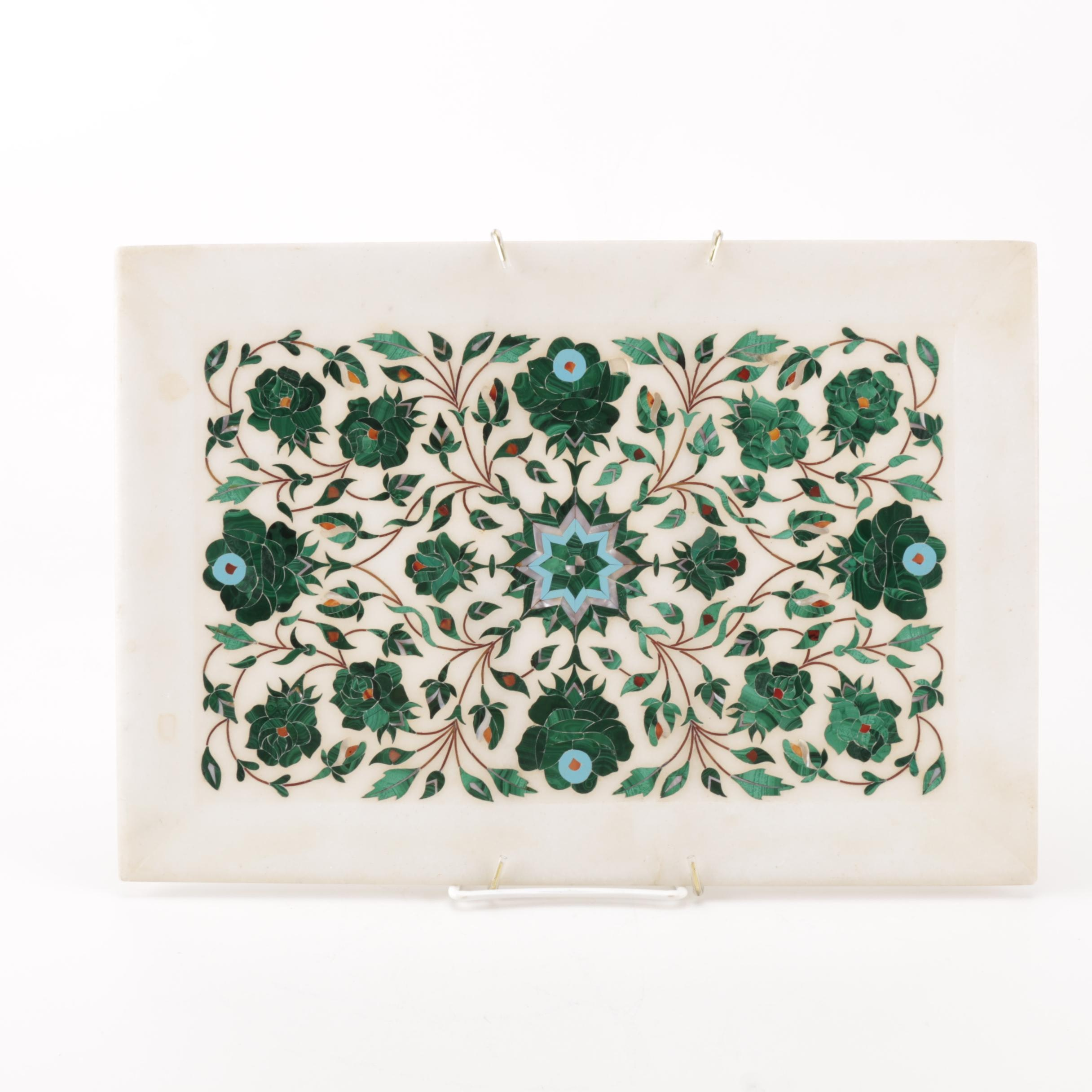 Marble Tray With Malachite and Mother of Pearl Inlay