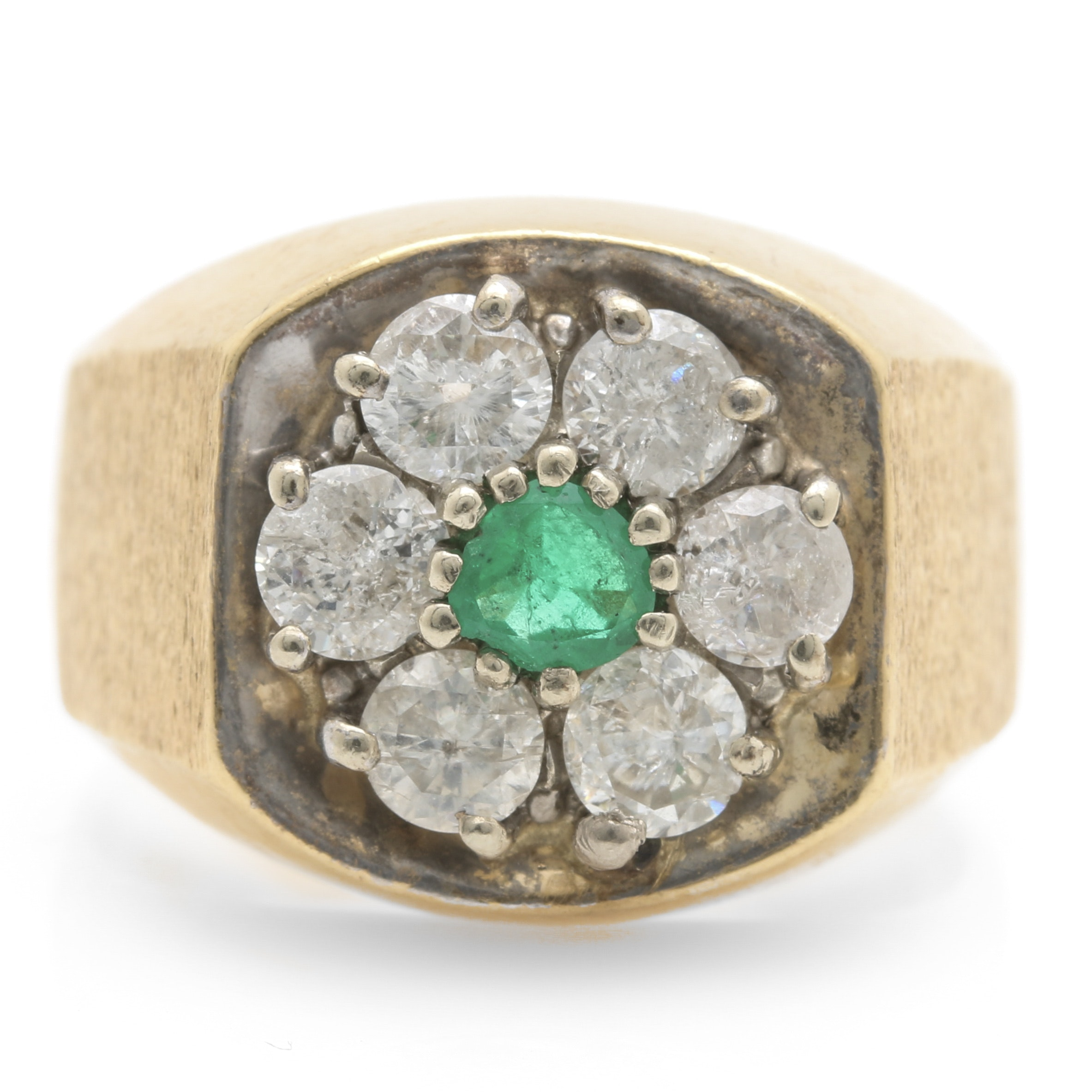 10K and 14K Gold Emerald and 1.50 CTW Diamond Floral Signet Ring