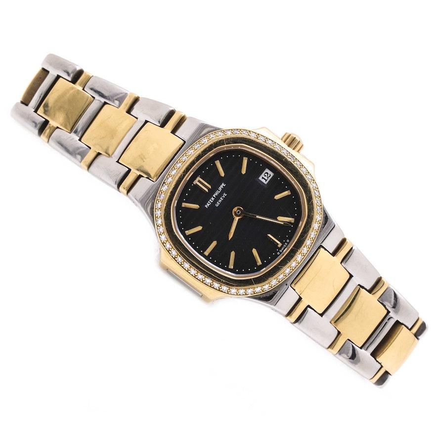 Patek Philippe Nautilus 18K Yellow Gold and Stainless Steel Diamond Wristwatch