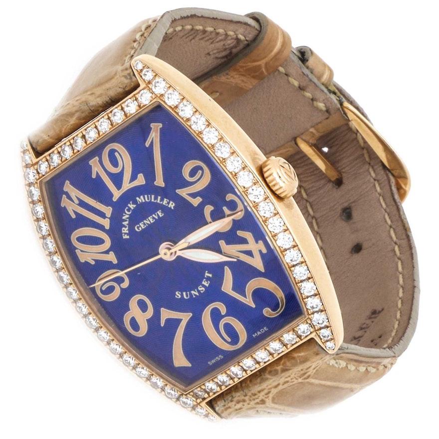 Franck Muller Sunset 18K Rose Gold 1.62 CTW Diamond Wristwatch