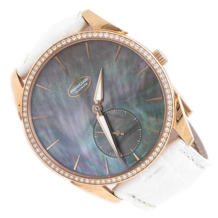 Parmigiani Fleurier Tonda 1950 18K Rose Gold Mother-of-Pearl and Diamond Wristwatch