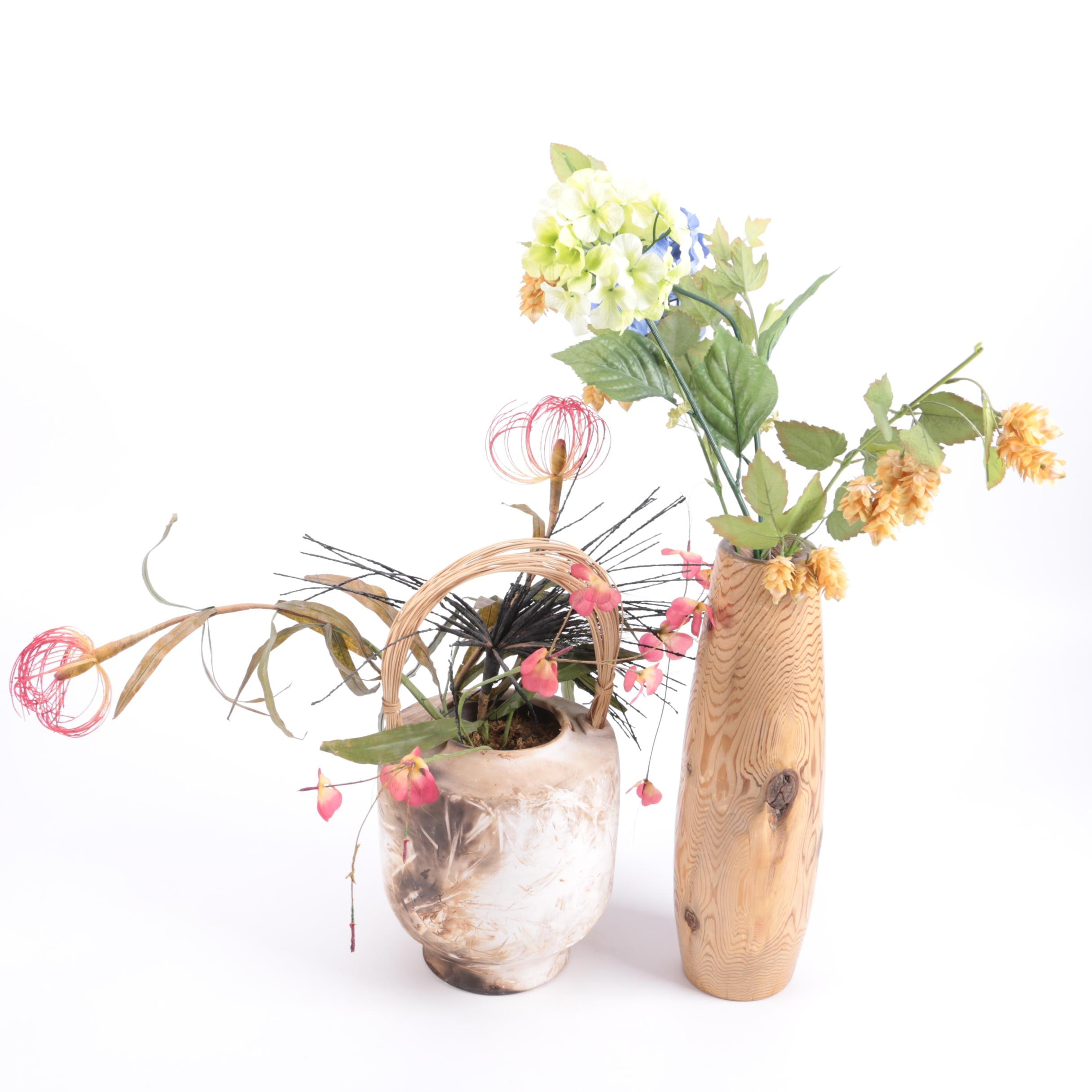 Pit Fired and Turned Wood Vases With Faux Flowers