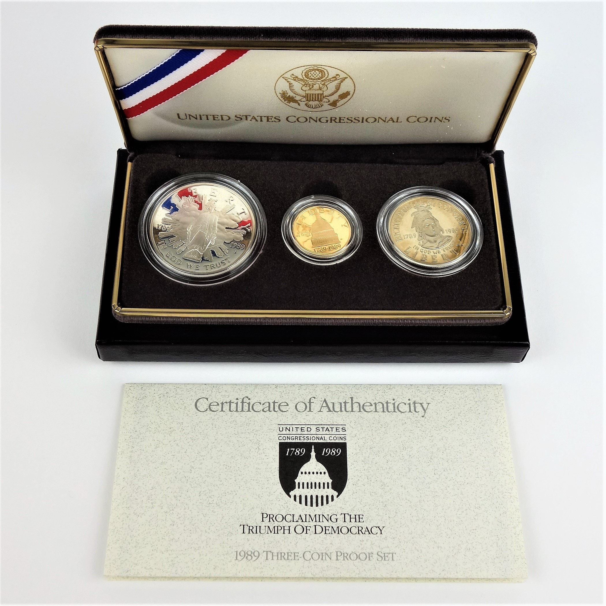 1989 US Congressional Coin Set $5 Gold, Silver $1 and Half Dollar