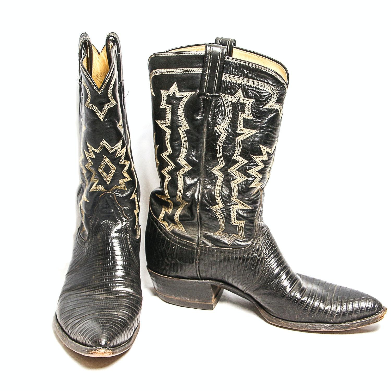 Black Tony Lama Lizard Cowboy Boots