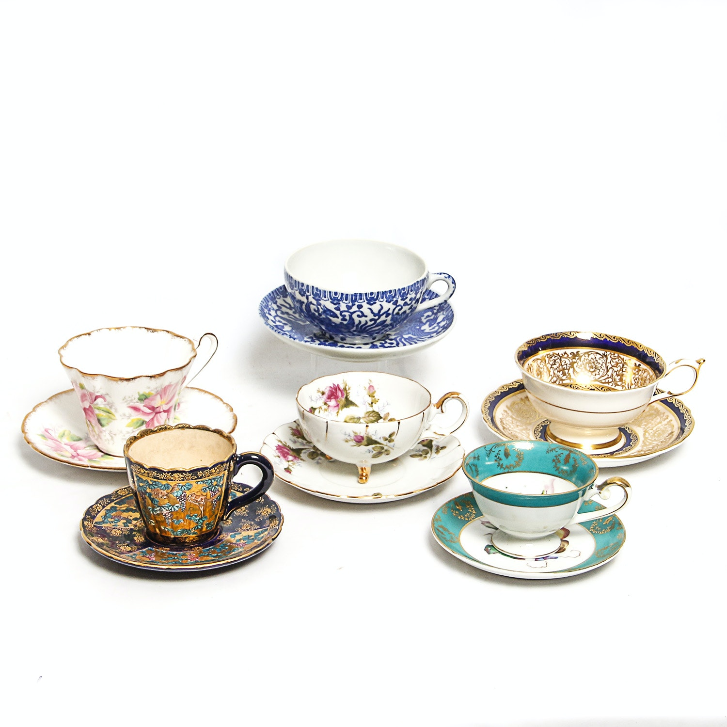 Vintage Teacups and Matching Saucers