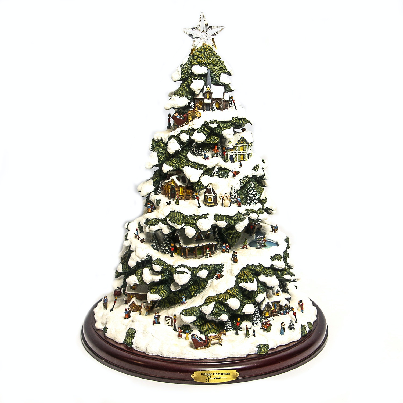"Thomas Kinkade ""Village Christmas"" Illuminated Tree"
