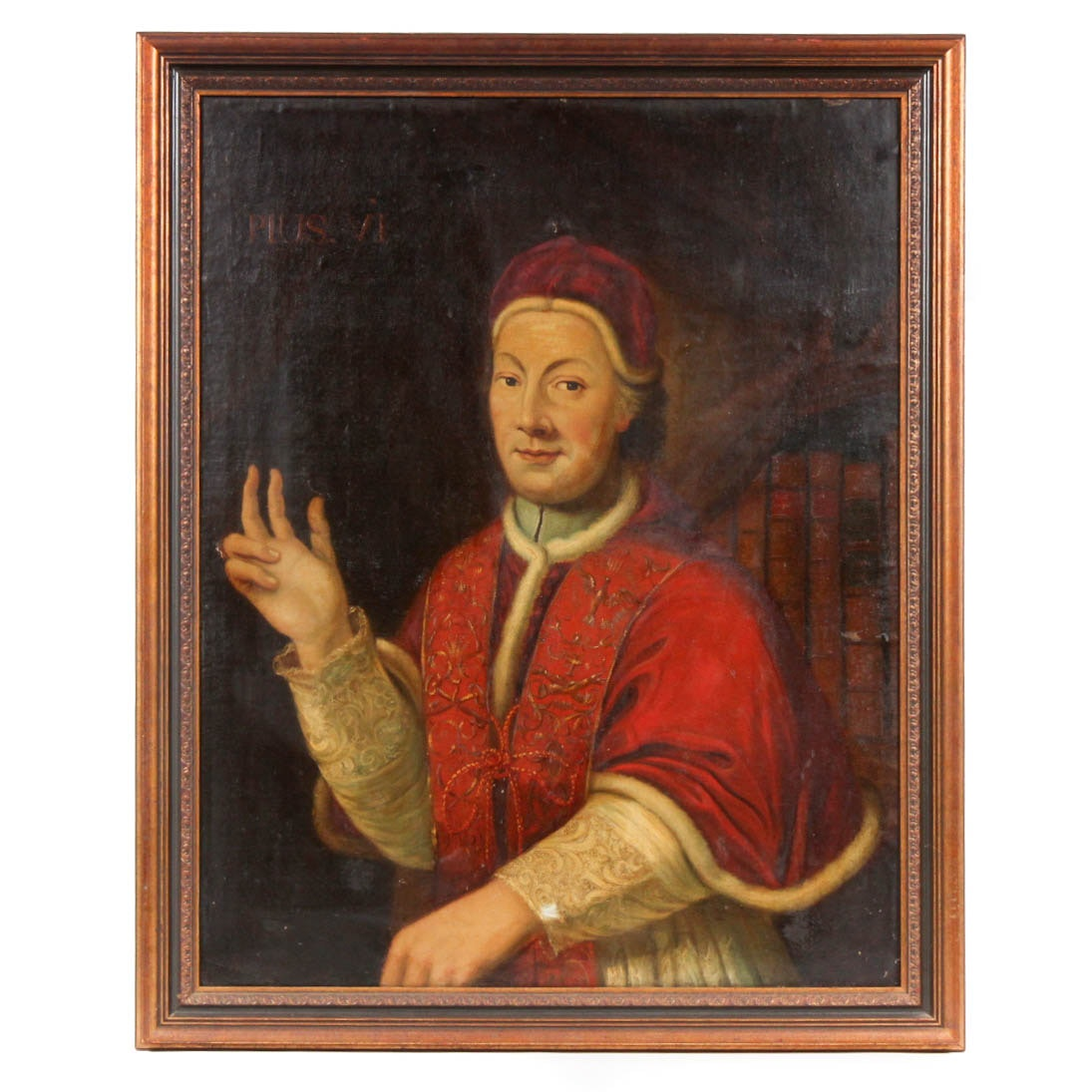 "Louis-Jean-François Lagrenée ""Pope Pius VI"" Original Painting on Canvas"